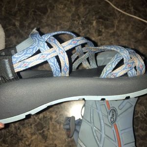 Blue and grey chacos
